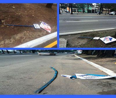 Publicidad del Partido FCN de Jimmy Morales sufre daños por vandalos