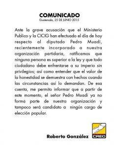 Comunicado de Roberto González y el Partido CREO
