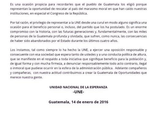 UNE da la bienvenida a su bancada de Diputados período 2016-2020