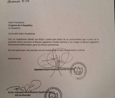 Diputada Alejandra Carrillo abandona al Partido Patriota