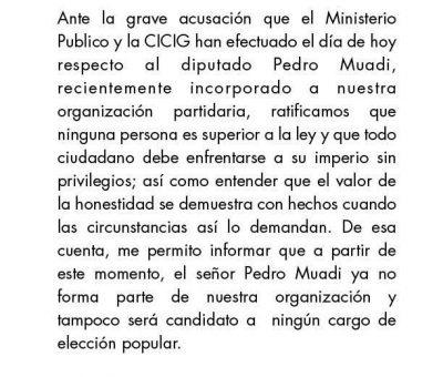 Roberto González Expulsa al Diputado Pedro Muadi