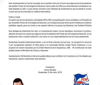 Renuncia de Jimmy Morales es Falsa el sigue firme en la Contienda Electoral