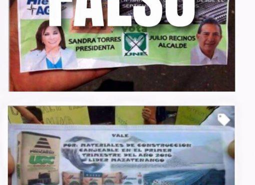 Volantes Falsos del Partido Unidad Nacional de la Esperanza (UNE)