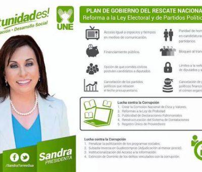 Sandra Torres solicita a los Diputados aprobar la  Ley Electoral y de Partidos Político