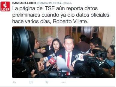 Roberto Villate solicita recuento de Voto por Voto Foto: Twitter Bancada Líder
