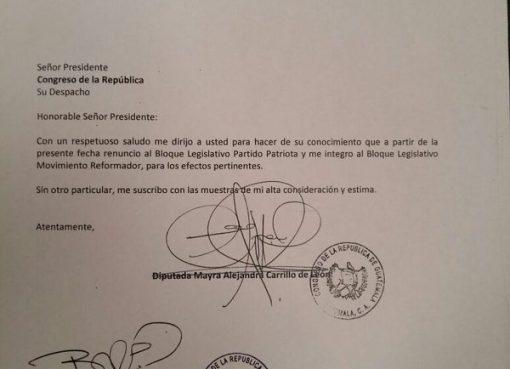 Alejandra Carrillo Renuncia al Partido Patriota (PP)