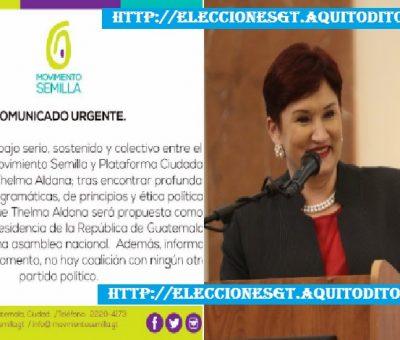 Movimiento Semilla anuncia que Thelma Aldana será su presidenciable Elecciones 2019